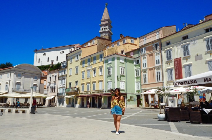 In Piran, Slovenia, where I took two-hour meals in between scribblings.